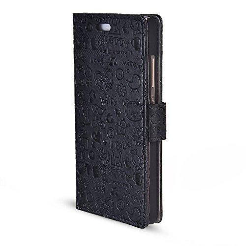 UKDANDANWEI iPhone 7 Hülle - Nette Muster Nähen Ledertasche Wallet Case Classic Schutzhülle Etui Hülle Schale - mit Standfunktion Für iPhone 7 - Rot MN-Schwarz