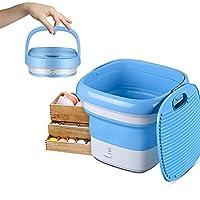 11x9inch Portable Mini Folding Washing Machine Underwear Socks Personal Clothes Washer Built-In Ozone Generator For School, Travel Use,220V/1.9KG,USB Powered,Blue