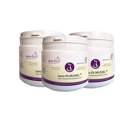 sano-fit Muskel mit 100% Proteinen (Bioaktive Kollagenpeptide) für Muskelaufbau von Dr. Jokar. 3 x 150 g Eiweiß-Collagen-Pulver. Kostenlose Lieferung