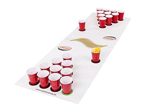 Beer Pong Set White inklusive Spielfeld, 25 Red Solo Cups, 4 Beerpong Bälle & mehr, die Alternative zum Beer Pong Tisch (Large) (Bier Ping-pong-tisch)