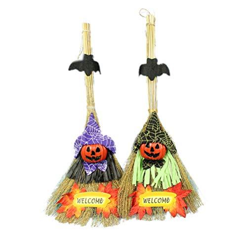 Sie Machen Kostüm Besen Einen - STOBOK 50 cm Hexenbesen Cosplay Besen Requisiten Halloween Dekoration hängende Ornamente für Home Party 2 Stück