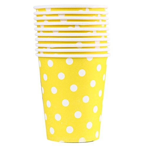 10X Toruiwa Einwegbecher Pappbecher Trinkbecher Becher Papierbecher Einweg Papier für Hochzeit Party Getränke Snacks Heiß Kaltgetränke 200ml (Gelb)