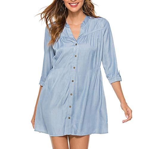 Damen V Ausschnitt Baumwolle Langarm einfarbig Tank Karriere Bloues T Shirt