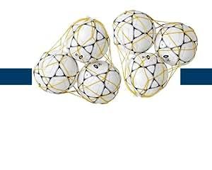 Lot de 2 filets pour 3 ballons de football de couleur jaune - Visiodirect-