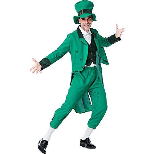 Kostüm Hunde Kobold - Halloween Kostüm Herren Erwachsene Unisex Karneval Fasching Irischer Kobold Alice Elf Set,Grün,XL