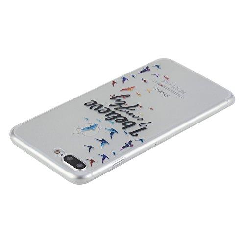 Per iPhone 7 Plus 5.5 Custodia morbido,Herzzer Mode Crystal Creativo Elegante fiori [Fuck]Quadro Dipinto Design trasparente case cover,Protettivo Skin in Liscio Smooth Toccare Unico Molto sottile Mod Flying birds