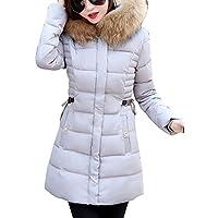 LaoZan Donna Inverno Spessore Caldo Cappotto Giacca Trapuntata Con Pelliccia Ecologica Cappuccio Grigio L