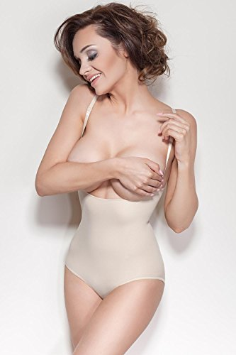 Mitex Elite Figurformender Body Für Damen, Shapewear, Slimming, Bauch-Weg-Effekt, Top Qualität, EU Beige