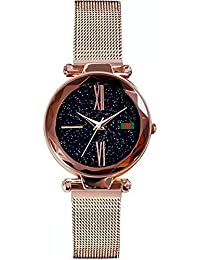 Relojes de pulsera de cuarzo para mujeres con esfera analógica Starry Sky y pulsera ajustable de