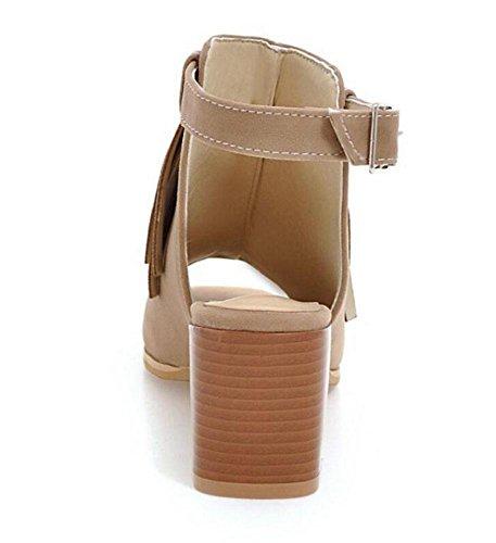 GLTER Sandali Tassel peep-toe donne gambe tacco alto fibbia scarpe pattini romani Cinturino di Pompe beige