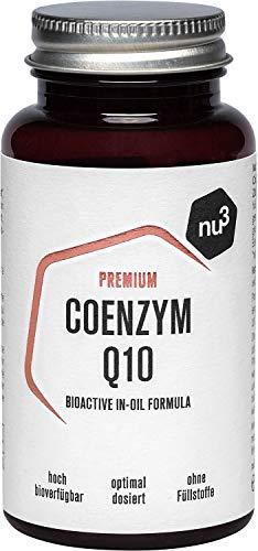 nu3 Premium Coenzym Q10 Kapseln – hoch dosierte 100mg Q10 Kapsel – frei von Gluten & Laktose – Softgel-Kapseln für leichte Einnahme – hohe Bioverfügbarkeit & schützt vor oxidativem Stress – Vegan