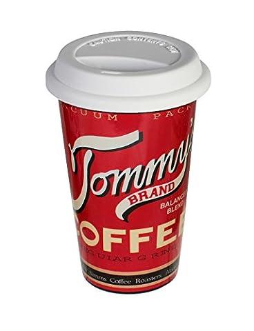 Coffee to go Becher Porzellan Tasse mit Silikondeckel Retro Kaffeebecher Nostalgie Tommy's Brand rot