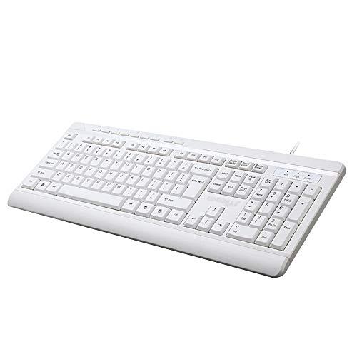 Business kabelgebundene Tastatur- Wasserdichte kabelgebundene Multimedia-Tastatur 104 für Notebook-PC (Weiß)