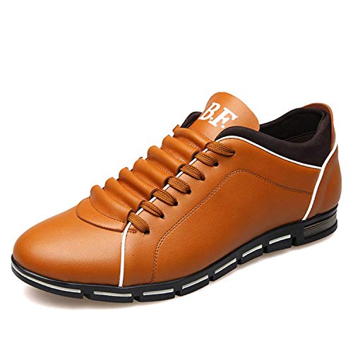 Men Casual Shoes Leather Loafers Male Flats Lace-up Driving Shoes for Male Shoes Adult Summer Plus Size 37-48 Mocassin Homme Yellow 8.5 -