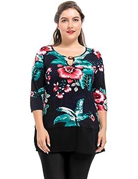 Chicwe Blusas Túnicas Tops Tallas Grandes Mujeres Camiseta Elástica Cuello con Adorno Dobladillo de Gasa 1X-4X