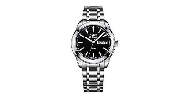 b93cc91b3a1d Rotary Men s Quartz Watch with Black Dial Analogue Display and Silver  Stainless Steel Bracelet GB90173 04  Amazon.co.uk  Watches