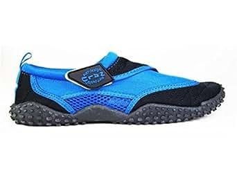Nalu Velcro Aqua Surf / Beach / Wetsuit Shoes (Kids UK 1 / EU 33, Blue with Black Trim)