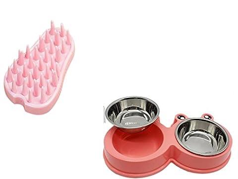 Accessoires Chien/Chat Angelof Gamelles Choit/Chat Inox+Brosse Chien/Chat Silicone Peigne Anti Noeud Brosses De Massage