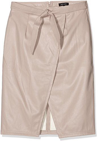 New Look Pu Tie, Jupe Femme Rose - Pink (Nude)