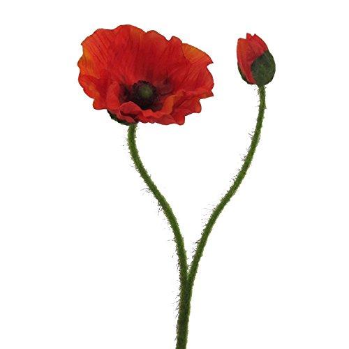 Kunstblume MOHN mit Blüte und Knospe. Mohnblume ca 48 cm. In ORANGE-70