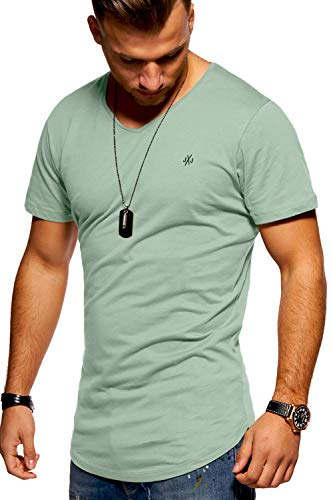 JACK & JONES Herren T-Shirt Kurzarmshirt Oversize Longshirt Basic V-Neck (Medium, Iceberg Green)