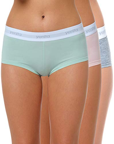 Yenita 3er Set Damen Underwear Modern-Sports-Collection, Panty, Gemischt (Pink/Mint/Grau), Gr. L