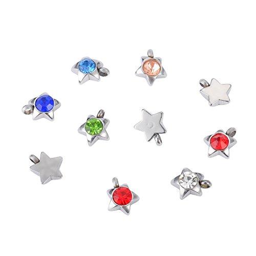 HooAMI Bunte Sterne-Form Rhinestone Anhaenger Accessoires(Farbe zufaellig) 9mmx7mm