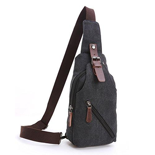 Outreo Herrentaschen Vintage Brusttasche Kleine Umhängetasche Herren Leder Schultertasche Sporttasche Messenger Taschen für Sport Reisetasche Retro Tasche Schwarz New