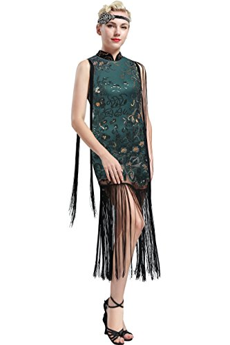 ArtiDeco 1920s Kleid Damen chinesisches Etuikleid Stil Blumen Pailletten Ohne Arm Retro 20er Jahre Gatsby Kleid Art Deco Flapper Kostüm Kleid (Dunkelgrün, Small)