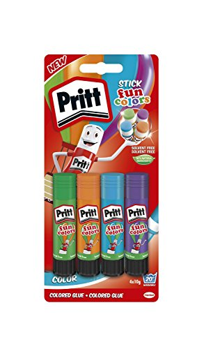 Pritt, 2270013, colla stick colorata fun colors, 4 colori, 4x10g