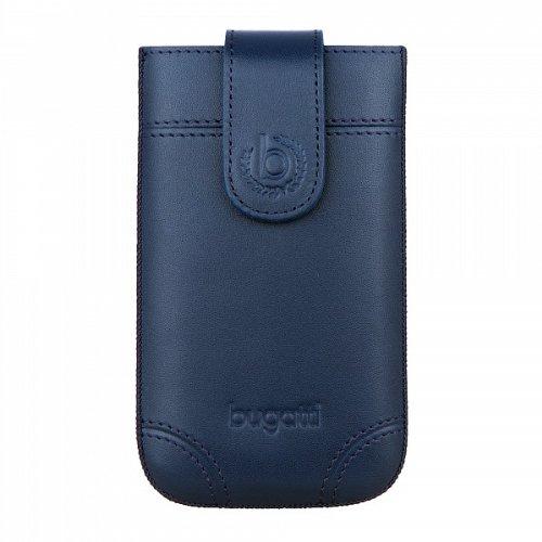 bugatti Dublin Echtledertasche für Samsung Galaxy SII, Microsoft Lumia 430, Huawei Y300, uvm. - Blau [Größe: SL | Handarbeit | Einfache Entnahme | Magnetverschluss] - 08309