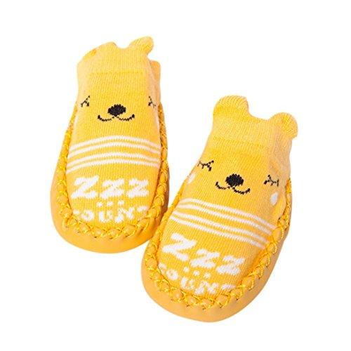 FNKDOR Cartoon Neugeborenes Babyschuhe Mädchen Jungen Anti-Slip Socken Slipper Stiefel(6-12 Monate,Gelb)