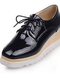 ZQ 2016 Zapatos de mujer - Tacón Robusto - Comfort / Punta Redonda - Oxfords - Exterior / Casual - Semicuero - Negro / Bermellón , black-us6.5-7 / eu37 / uk4.5-5 / cn37 , black-us6.5-7 / eu37 / uk4.5-5 / cn37