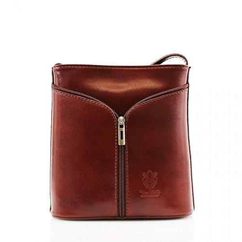 Da donna Fashion Designer piccola borsa a tracolla in pelle italiana di qualità cwv0026 Marrone H20cm x W18cm x D7cm