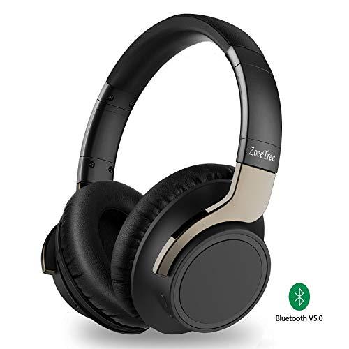 ZoeeTree H8 Bluetooth Kopfhörer Over-Ear, Kabellos Noise Cancelling Kopfhoerer Bluetooth 5.0 Headphones mit Mikrofon und Transportetui, Dual 40mm Treiber Sattem Bass, 30 Std Spielzeit, 3,5mm Audio AUX Audio-treiber