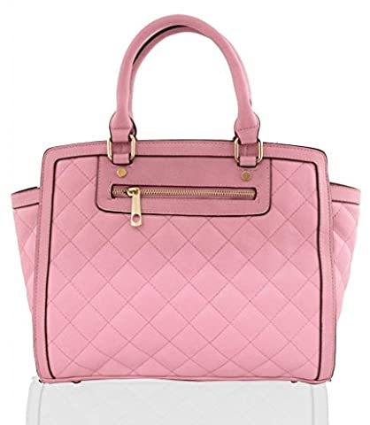 KUKUBIRD QUILTED FAUX LEATHER DESIGNER TOTE LARGE SIZE HANDBAG - PINK