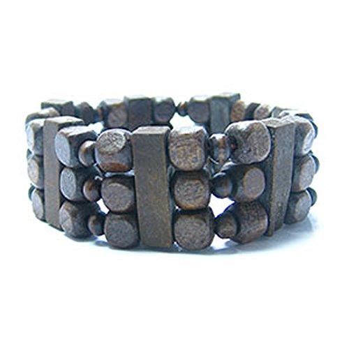 Boho Braunen Perlen Squares Tribal Holz Stretch Perlen Armband Aus Hanf (Stretch-hanf)