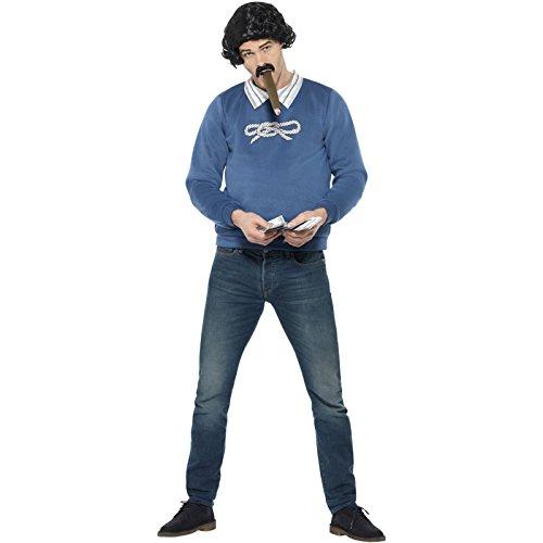 121l kolumbianischen Gangster Kostüm, blau, groß, 42–Blumenkasten (Pablos Escobar Kostüm)