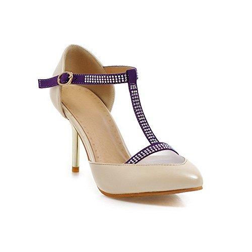 AllhqFashion Damen Weiches Material Schließen Zehe Gemischte Farbe Sandalen Aprikosen Farbe