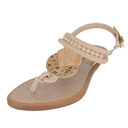 bf3fecba495 GRENDENE Womens Tribal Sandal 81815 Beige Size  8 B(M) US