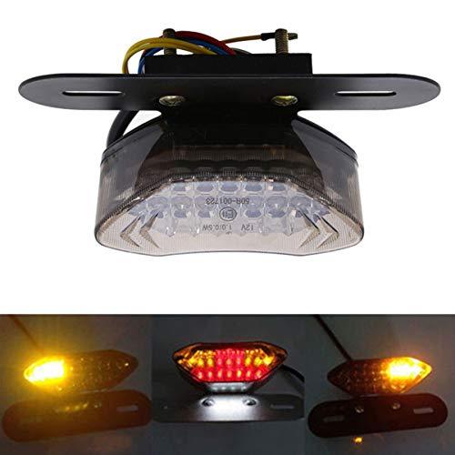 Feu arrière de clignotant de frein de moto, plaque d'immatriculation intégrée avec support (12V 20LED)