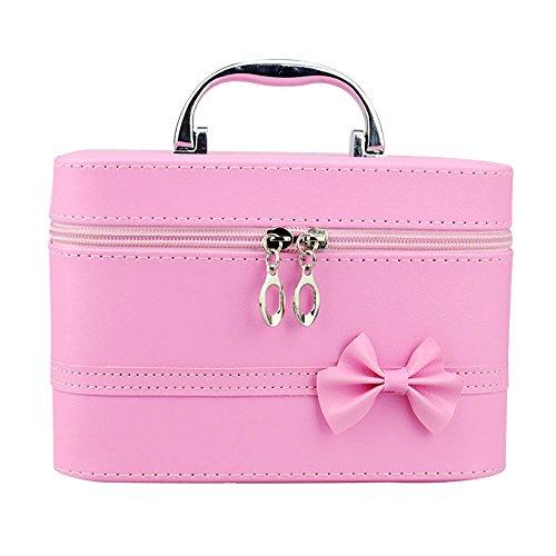 Zhi Jin Cuir PU Nœud Poignée carrée Bijoux Cosmétique Boîte de maquillage Organiseur de voyage Sac de rangement rose rose