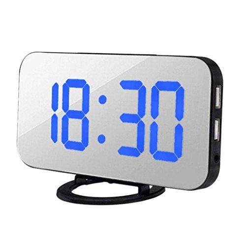 Zarupeng LED-Digital-Wecker mit USB-Anschluss für Handy-Ladegerät Touch-Activited Kleiner Wecker Multifunktional Dimmer (One Size, Blau)