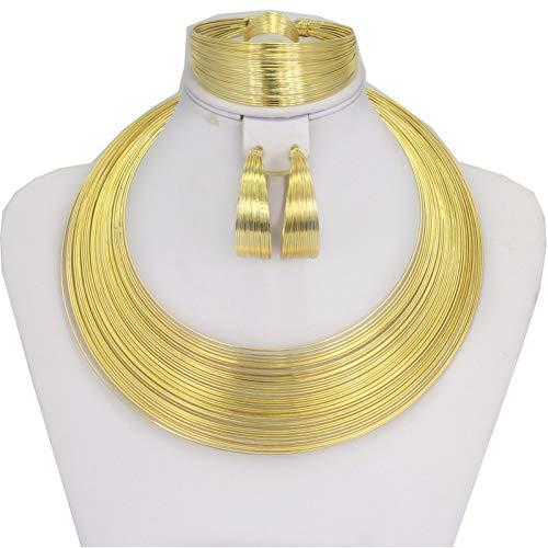MNGGNM Mode Dubai Goldschmuck Sets Frauen Afrikanische Hochzeit Draht Charme Halskette Armband Ohrringe Brautschmuck