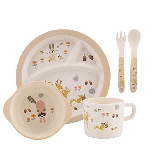 Zerodis 5 Stücke Baby Geschirr Set Kleinkinder Bambusfaser Abendessen Kinder Teller Gerichte Nette Muster Teller Gabel Löffel Geschirr Dienstleistungen Geschenk für Kind(Tierwort ) Abendessen-geschenk-set