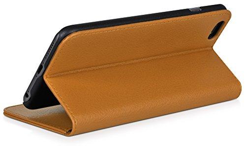 DONZO Tasche Handyhülle Cover Case für das Apple iPhone 6 / 6S in Grau Wallet Travel als Etui seitlich aufklappbar im Book-Style mit Kartenfach nutzbar als Geldbörse Wallet Structure Braun