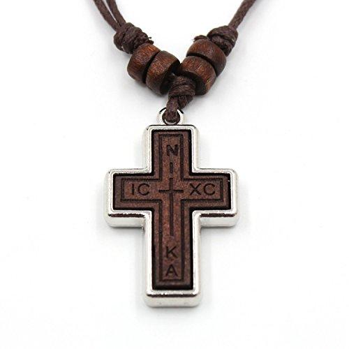 Olivenholz Russisch-Orthodoxe Kreuz Anhänger Hanf Schnur Halskette für Männer Wowen Kinder (Nika, ickc)