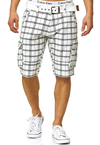 Indicode Herren Monroe Check Karierte Cargo Shorts Bermuda Kurze Hose inkl. Gürtel Optical White L Straight Leg Zip Fly Jeans