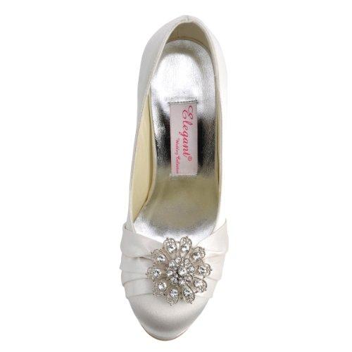 ElegantPark EP2015-PF Satin Plateforme Aiguille Talon Pumps Bout Ferme Fleurs Strass Diamant Boucles Chaussures Escarpins de Mariee Bal Ivoire