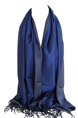 Recto-verso réversible uni Pashmina Feel Wrap Echarpe Châle Stole Echarpes Head Shaded Bleu royal